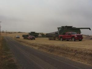 Getting ready to head back to the shop after harvesting the last field of the year.